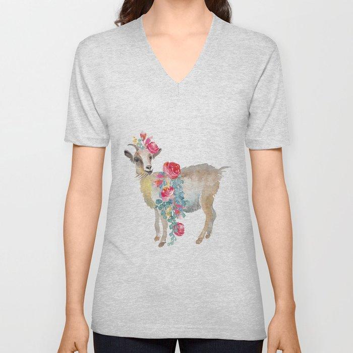 goat with flower crown Unisex V-Neck