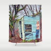 nudes Shower Curtains featuring Lewiston Biltmore by Kim Leutwyler