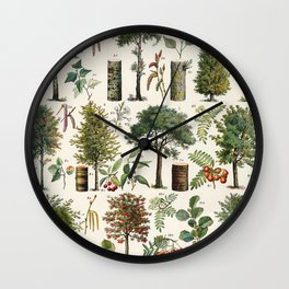 Adolphe Millot - Arbres B - French vintage botanical poster Wall Clock