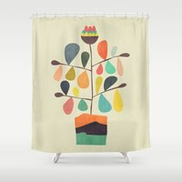 plant Shower Curtains featuring Potted Plant 4 by Picomodi