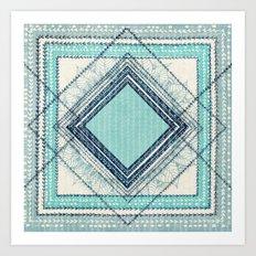 Teal Quilt  Art Print