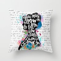 Throw Pillows featuring Mr. Darcy - Ardently Admire & Love You by Evie Seo