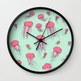 Pastel colors jellyfish Wall Clock