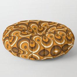 Brown, Orange & Ivory Wavy Lines Retro Pattern Floor Pillow