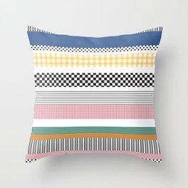 Mixed Pattern Stripe Print Color Blocking Throw Pillow