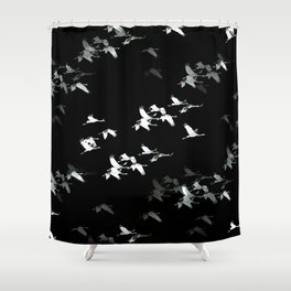 Abstract Black and White Crane Flock #decor #society6 Shower Curtain