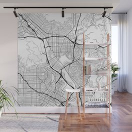Glendale Map, USA - Black and White Wall Mural