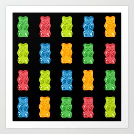 Rainbow Gummy Bears Pattern on Black Background Art Print
