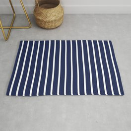Navy Blue and White Vertical Stripes Pattern Rug