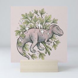 Tyrannosaurus & Sassafras | Dinosaur Botanical Art Mini Art Print