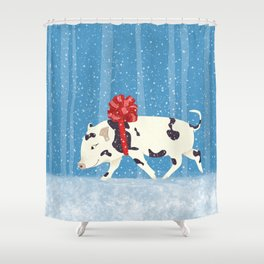 Cute Little Pig Holiday Design Shower Curtain