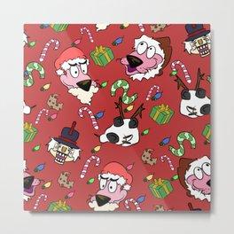 Pink Christmas Dog Metal Print