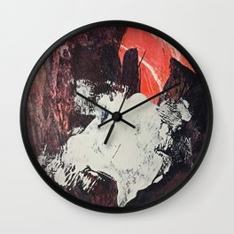 Amazon [2]: a bright, colorful, abstract piece in orange, red, deep purple, and light blue Wall Clock