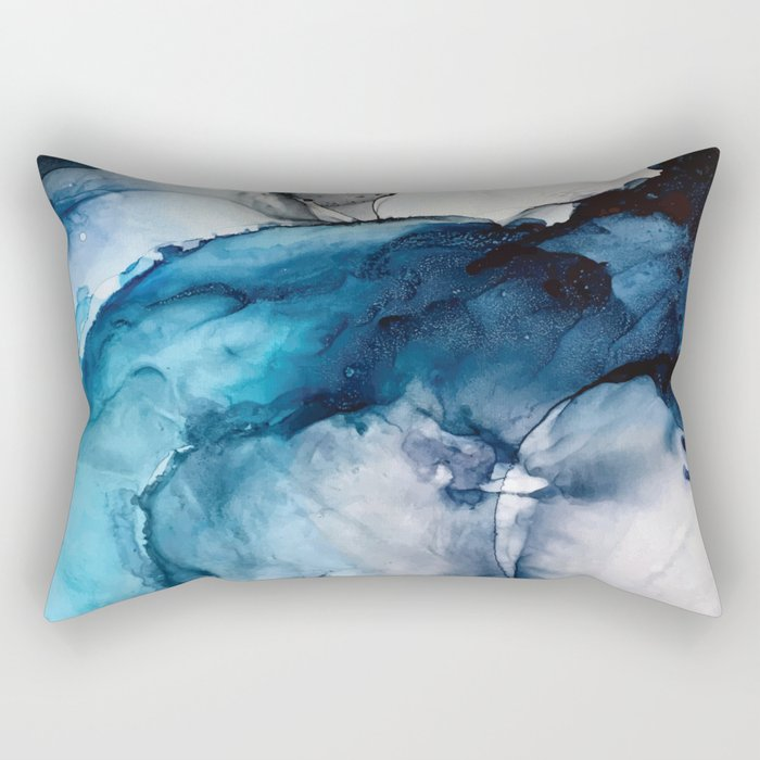 White Sand Blue Sea - Alcohol Ink Painting Rectangular Pillow