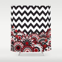 Floral Chevron. Shower Curtain