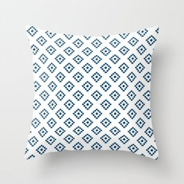 Geometrical abstract hand painted navy blue pattern Throw Pillow