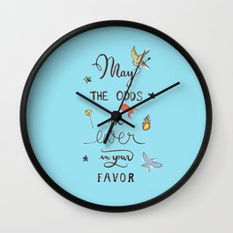 Hunger Game quality calligraphy - light blue Wall Clock