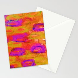 NOT YET, NIGHT - Bright Bold Colorful Abstract Watercolor Mixed Media Painting Warm Dusk Tones Stationery Cards
