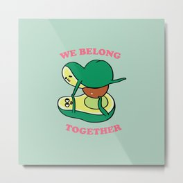 We Belong Together Avocado Yoga Metal Print