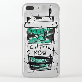 Coffee, Now! Clear iPhone Case