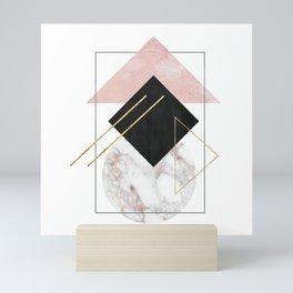 Rose Marble Triangle Art | Geometry Wall Decor | Polygonal Modern Minimalist Abstract Shapes Mini Art Print