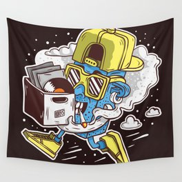 ToyDj Brings A Box With Vinyls And Smoke Wall Tapestry