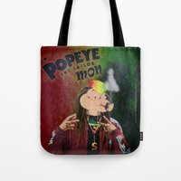 popeye Tote Bags featuring POPEYE THE SAILOR MON - 018 by Lazy Bones Studios