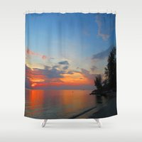 thailand Shower Curtains featuring A Thailand sunset by I AmErika