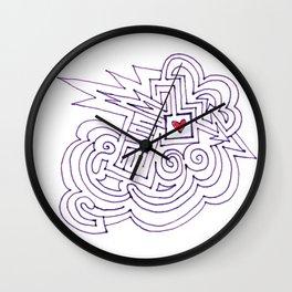 Arrow Thru Heart Maze Drawing Wall Clock