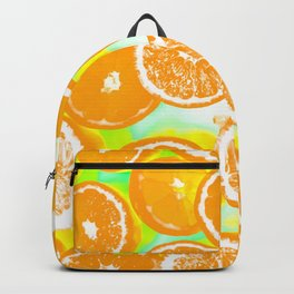 juicy orange pattern abstract with yellow and green background Backpack