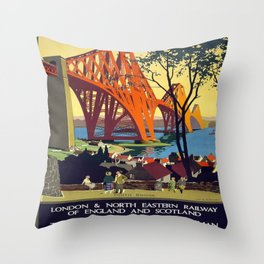 Vintage poster - Forth Bridge Throw Pillow