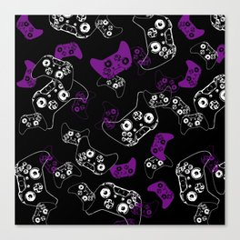 Video Game Purple on Black Canvas Print