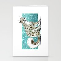 snow leopard Stationery Cards featuring Snow Leopard by Seylyn