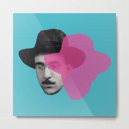 Fernando Pessoa Portrait - pink and blue Metal Print