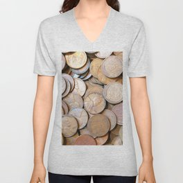 Watercolor Coins, Lincoln Wheat Pennies, 1937 01 Unisex V-Neck