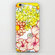 Yellow Hibiscus Cat in Silhouette iPhone Skin