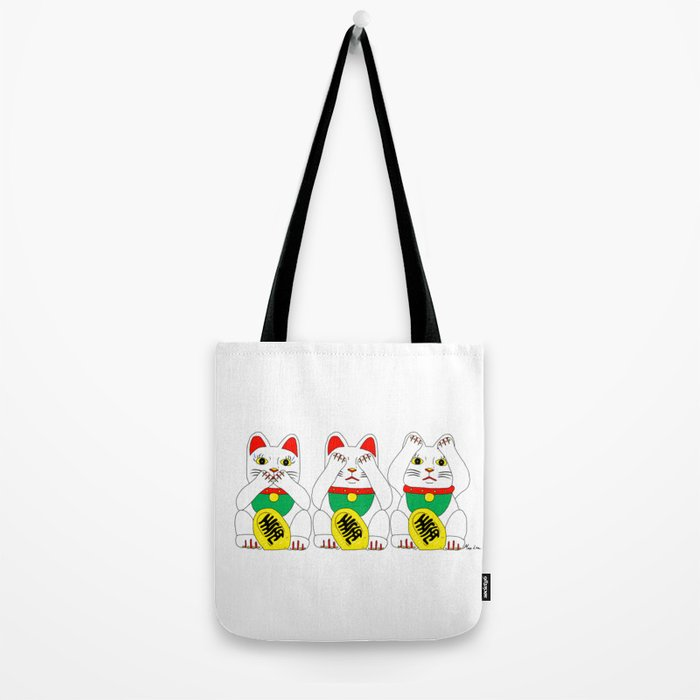Three Wise Lucky Cats Tote Bag