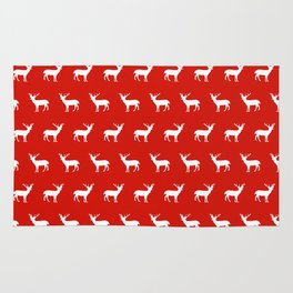 Christmas deer reindeer red and white minimal modern silhouette holiday pattern print design Rug