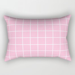 Pink white minimalist grid pattern Rectangular Pillow