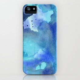 Blue Abstract Watercolor Painting iPhone Case