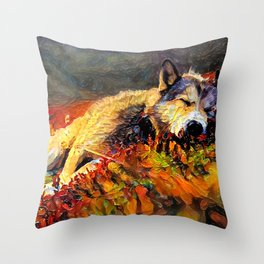 Wolf on a Sleepy Mountainside Throw Pillow