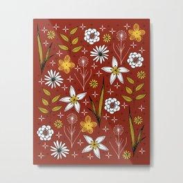 retro floral print on red Metal Print
