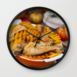 I - Oven roasted chicken with grilled pumpkin on a rustic table Wall Clock