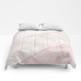 Spliced mixed pink marble and rose gold Comforters