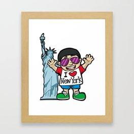 I LOVE NEW YORK Lady of Liberty Statue Torch USA Framed Art Print