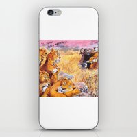 vegetarian iPhone & iPod Skins featuring vegetarian lion by Rose Rigden