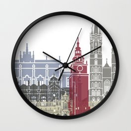 Krakow skyline poster Wall Clock