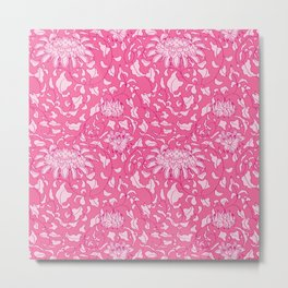Chinoiserie Vines in Berry + Pink Metal Print