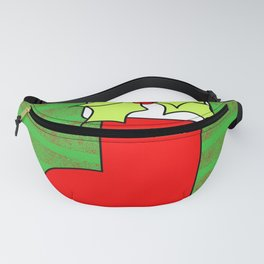 Christmas stocking with decorative holly leaves and mistletoe Fanny Pack