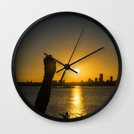 Sunset Cityscape Scene, Montevideo, Uruguay Wall Clock